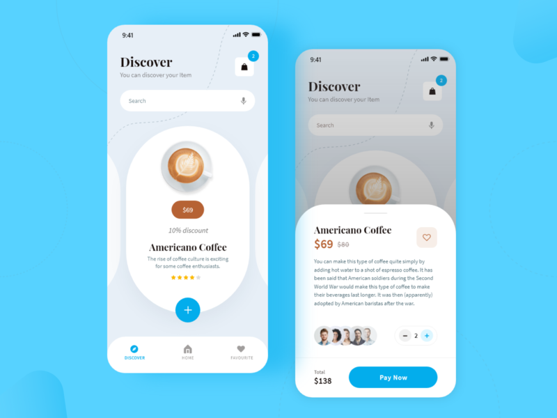 Coffee Delivery App branding ui design minimal modern clean ui online food service food delivery app food app ui card design food app coffeshop coffee app americano mobile app design