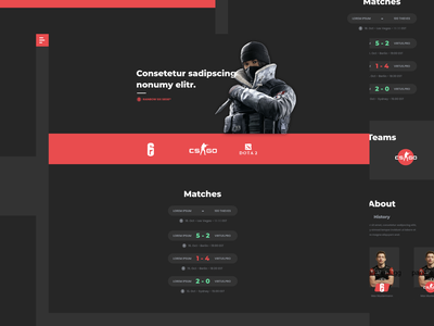 Webdesign Concept for an eSport team dark clean page landing team esports esport concept design ux ui