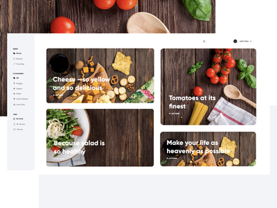 Recipe app webdesign concept tomato white clean redesign home food recipes website webdesign landingpage interface ux ui design web concept app recipe
