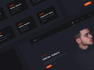 "Webdesign ""Fabian Schurz"" website portfolio projects developer dark orange page landing webdesign ux ui web clean design"