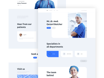 Doctor landing page website webdesign light blue white team patient medical health concept page landing web design design web ux ui clean doctor clinic