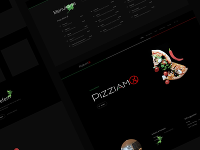 Pizziamo menu dark concept website page landing webdesign clean ux ui web pizza