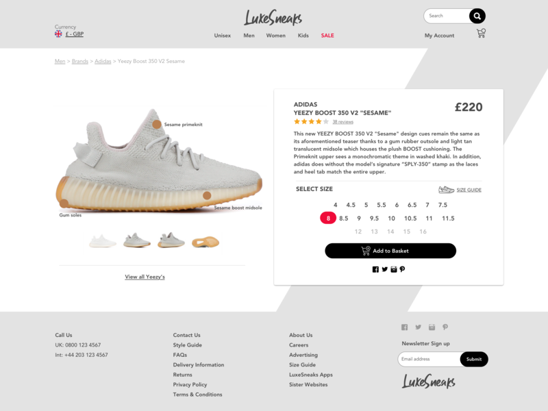 Daily UI 012 - eCommerce Shop Single Item ecommerce design yeezy sneakers web design dailyui 012 dailyui