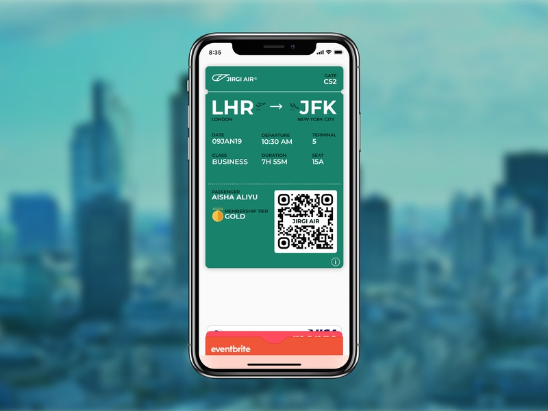 Daily UI Challenge 024 - Boarding pass mobile design boarding pass app design apple wallet daily ui 024 dailyui