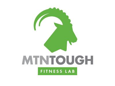 MTN Tough Fitness Lab green gray goat ibex identity logo workout gym lab fitness tough mountain