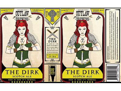 The Dirk Scotch Ale beer illustration sword woman beer label