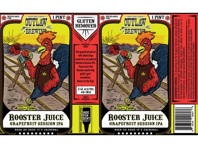 Rooster Juice Beer illustration beer chicken rooster beer label