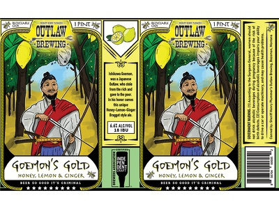 Goemon Gold Beer Label illustration ginger lemon japanese arrow bow beer beer label