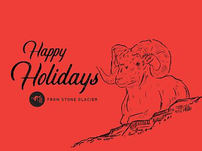 Holiday Card illustration bighorn sheep ram