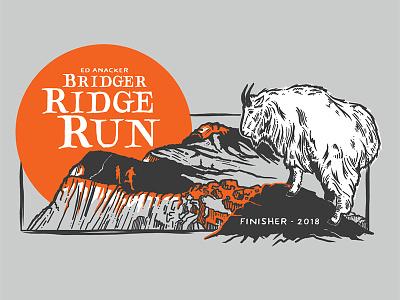 Trail Running Finisher Shirt illustration trail run bridger mountain goat