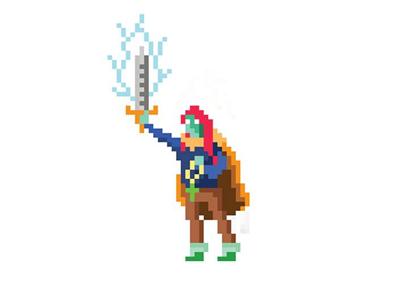The Heroine videogames retro hero fantasy vintage pixelart