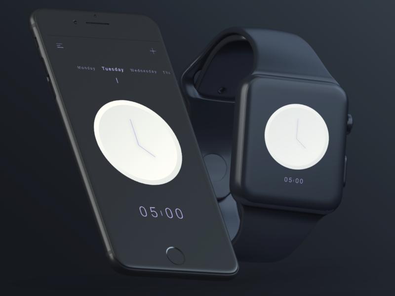 Clock app - iOS Concept flat clock watch os watch app watch ui apple iphone ios clock application app flat dribbble design trends daily 100 web ux ui design dailyui