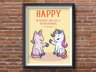 Fullstack HQ 6H Core Value 4/6 : Happy 🙂 vector typography banner design wall art startup marketing startup branding poster art poster illustration