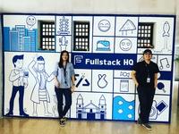 Hand-painted wall mural at Fullstack HQ