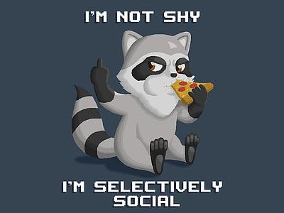 Plains & Pixels - Selectively Social Raccoon pixel art pixelart pixel illustrator illustration designer design