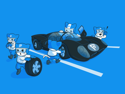 Fullstack F1 Pit Crew - Illustration mascot metaphor car art illustrator illustration draw drawing