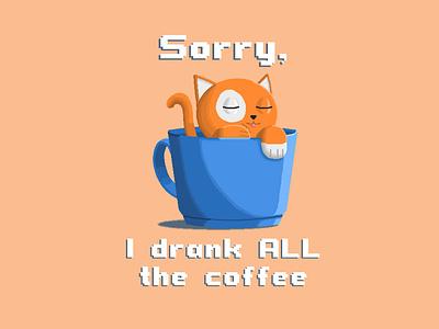 Plains & Pixels - I Drank All The Coffee illustrator pixel art pixelart pixel design illustration