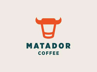 MATADOR / BULL COFFEE spain bulls animal glass cup cafe coffee horn matador bull restaurant dual meaning design illustration logos simple icon logodesign logodesigns logo
