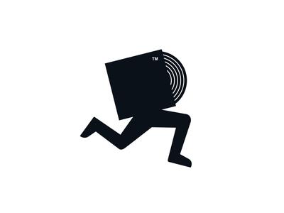 Run My Music running foot run vinyl vcd dvd disc studio label music branding dual meaning character illustration logos simple icon logodesign logodesigns logo