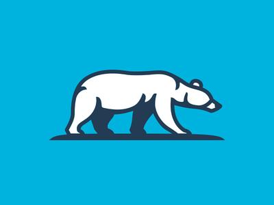 Polar Bear line shadow blue white arctic strong mammal grizzly polar bear bear animal character illustration logos icon simple logodesign logodesigns logo design
