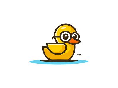 BathroomDuck glasses little child cartoon playful quack bathroom kid duck logo design illustration vector animal cute app character logos icon simple logo