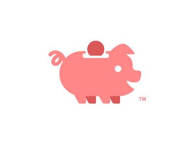 Piggy Bank logo designer pink playful coin piggy bank piggy pig logo design illustration app cute animal dual meaning character logos icon simple logo