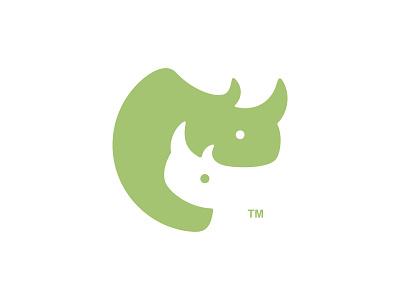 RhinoCares parental horn baby rhino family parent mom cute animal dual meaning character app illustration logodesign logodesigns logos icon simple logo