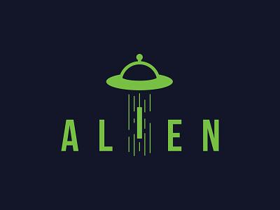 ALIEN playful spacecraft spaceship space ufo alien logotype wordmark lettermark branding typography dual meaning illustration logodesign logodesigns logos icon simple logo