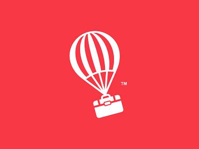 Business Traveler simple logo traveling air balloon business bag balloon traveler travel logo design branding illustration dual meaning logos icon simple logo