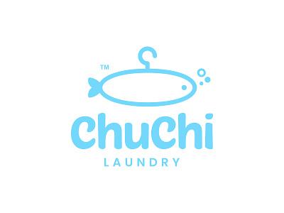 ChuChi Laundry clean laundry service washing wash blue marine hanger laundry fish logo design animal app cute dual meaning illustration character logos icon simple logo