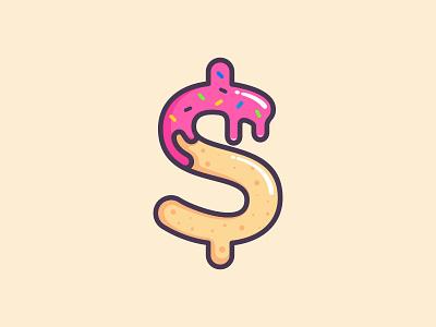 Keke Kreme playful youthful donut money dollar creme cake branding cute dual meaning app illustration character logos icon simple logo
