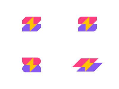 Letter Z + Lightning thunderstorm bolt lighting zap z letter lettering letter modern typography ui ux branding dual meaning app logo design logos icon simple logo