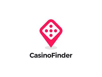 Casino Finder finder dice pin casino ui ux dual meaning app logodesigns logos icon simple logo