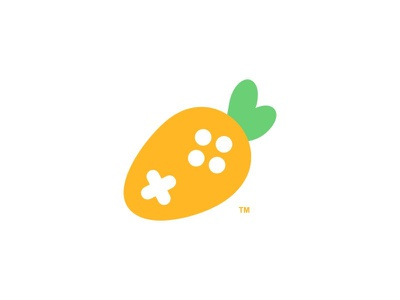 Carrot Game leaf fruit vegetable stick game pad game carrot ux ui branding cute dual meaning app logos icon simple logo