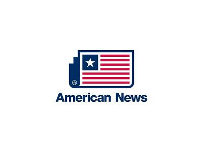 American News national america design american flag news branding dual meaning app illustration logos icon simple logo