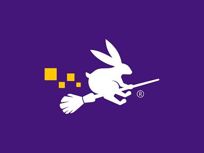 Rabbit Witch Tech playful logo design branding illustration ui design logos icon simple logo magic wand wizard witch bunny rabbit