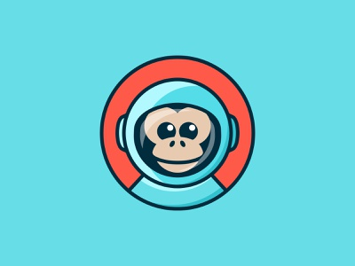 Astro Monkey logo ideas logo inspirations logo design happy smile face space astronaut monkey branding ui design illustration logos icon simple logo