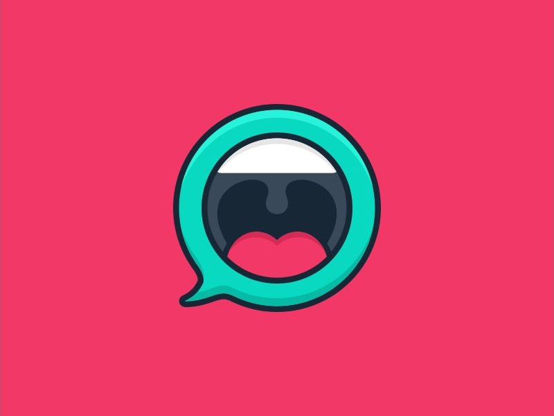 Belt Out Loud app vector speech bubble chat app speech playful loudspeaker loud scream mouth chat bubble chat character illustration logos icon simple logodesign logodesigns logo