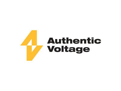 Authentic Voltage Logo mark authentic lightning power lettering lettermark logotype negative space logo electric thunderbolt storm voltage typography design logos icon simple logodesign logodesigns logo