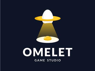 Omelet Game Studio food chicken playful game breakfast space alien yolk ufo egg app character illustration design logos icon simple logodesign logodesigns logo