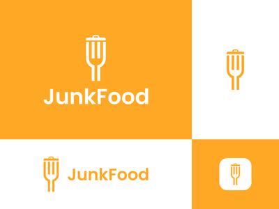 JunkFood logo for sale drink eat spoon fork junkfood food garbage trash junk restaurant dual meaning app design logos simple icon logodesign logodesigns logo