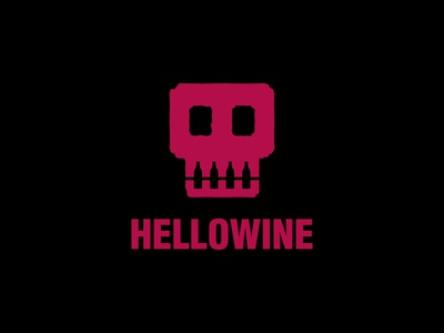 HELLOWINE club bar drink black dark helloween bottle wine negative space skull dual meaning character app illustration logos simple icon logodesign logodesigns logo