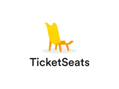 TicketSeat unique logo yellow orange playful festival event coupon ticker chair seat dual meaning app illustration logos simple icon logodesign logodesigns logo