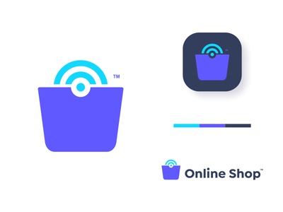 Online Shop wifi dual meaning application shopping network connect online shop bag shop signal online ux ui app logos simple icon logodesign logodesigns logo