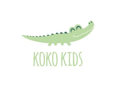Koko Kids reptile fun smile happy lovely adorable little baby kids crocodile animal vector cute character illustration simple icon logodesign logodesigns logo