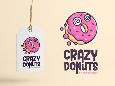Crazy Donuts ugar donuts playful tasty sweet pink food donut fun crazy cute app character illustration logos simple icon logodesign logodesigns logo