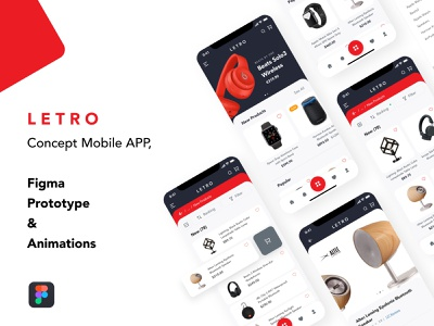 LETRO APP - Concept Prototype & Animation flat clean ecommerce app user experience userinterface app design prototype animation animation prototype aplication mobile design mobile app figmadesign figma ux ui