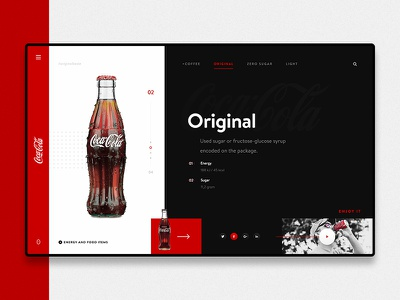 Coca Cola Product Pade Design! red dark cocacola responsive page minimal landing page interface homepage experience flat design clean business web web design website user experience ux ui