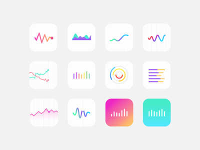 iOS Icons visualization viz color light charts graphs analytics reporting icons ios
