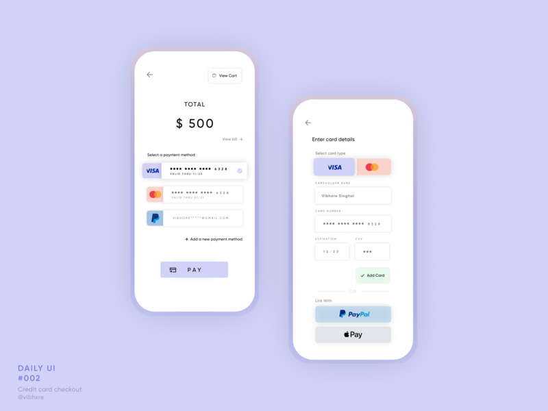 Credit Card Checkout | Daily UI #002 credit card checkout dailyui002 payment app payment web design mobile app design app design figma daily ui 002 daily ui 002 dailyui mobile design mobile ui user interface ux design ux ui